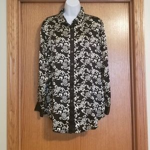 Soft Surroundings Black Ivory Silk Shirt Medium